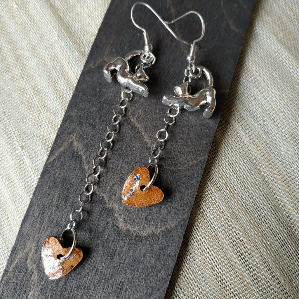 orecchini artigianali pendente con gatto