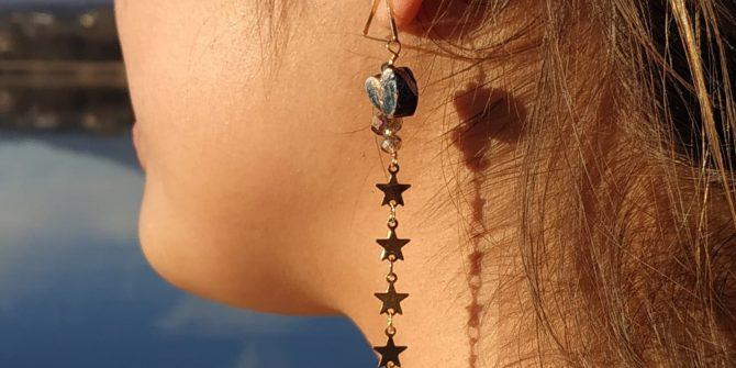 orecchini artigianali pendente con stelline