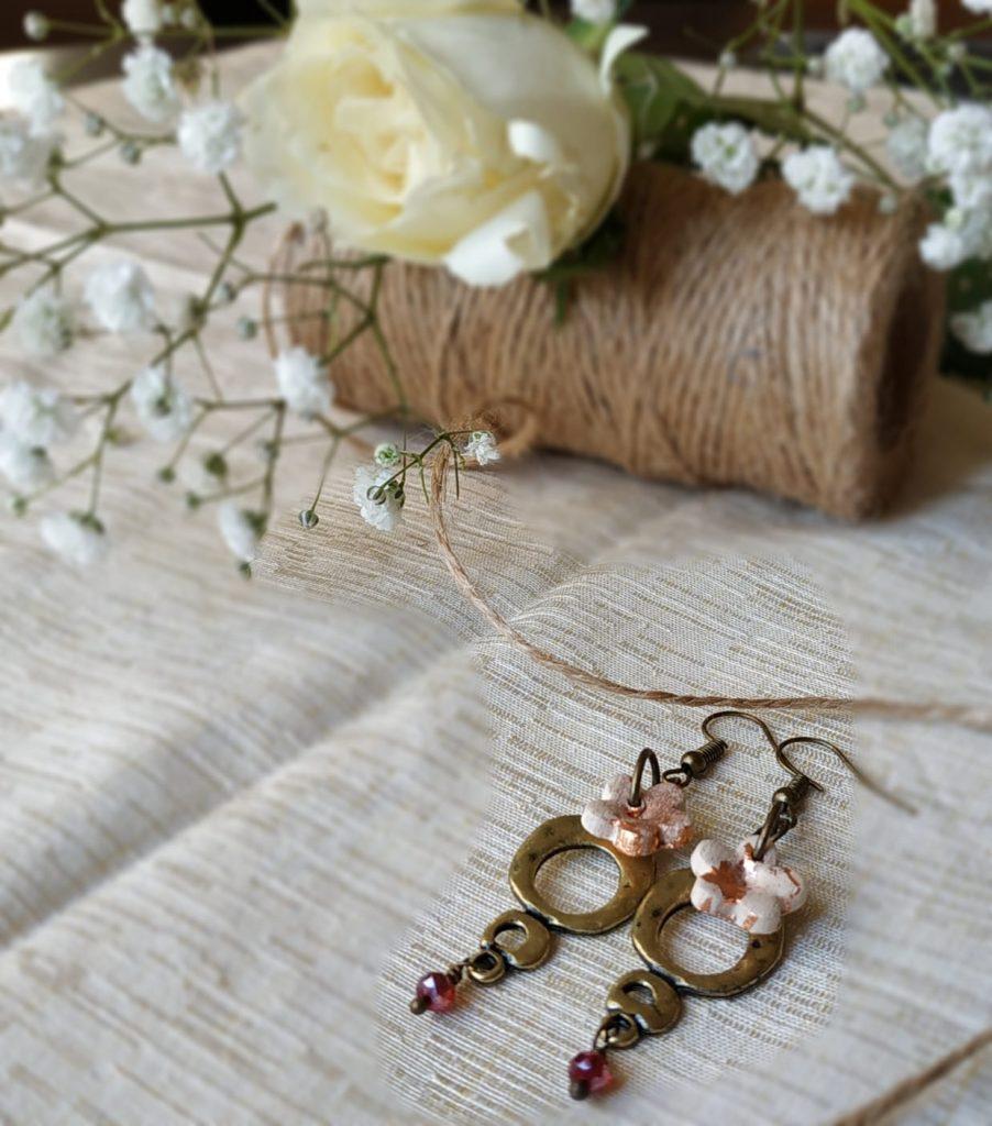 orecchini da sposa pendenti con fiore